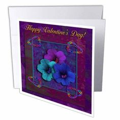 3dRose Four Vintage Hearts and Pansy Flowers, Happy Valentines Day , Greeting Cards, 6 x 6 inches, set of 12