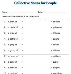 Collective Nouns Worksheets (People, Animals and Things) English Grammar Rules, English Grammar Worksheets, English Vocabulary, English Creative Writing, English Writing Skills, Worksheets For Grade 3, Verb Worksheets, Collective Nouns Worksheet, Third Grade Reading