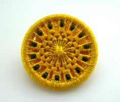 yellow green brooch Dorset button pin badge in by GinisBoutique