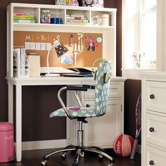 Check out these study spaces for teens by PB Teen. We think they're comfy, age-appropriate, and perfect for quiet study and concentration. The girls' study furn