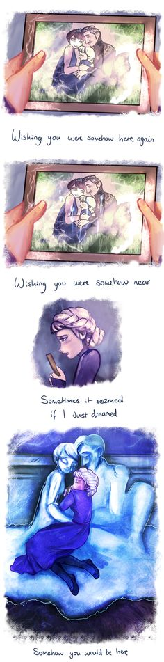 "Help me say goodbye by Kittykatpaws.deviantart.com on @deviantART - Elsa from ""Frozen"" grieving for her parents. The text comes from the song ""Wishing You Were Somehow Here Again"" from ""Phantom of the Opera""."