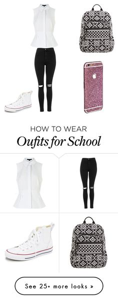 """""""Just. School."""" by nyalua27 on Polyvore featuring Alexander Wang, Topshop, Converse, Vera Bradley, women's clothing, women, female, woman, misses and juniors"""