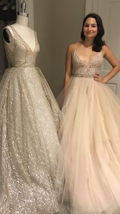 Lazaro sparkly wedding dresses! Styles 3662 and 3751.