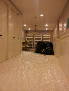 Plastic on the floor.