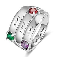 Customized Gift Idead For Her, Personalized Silver Ring For Women, Customized Gift For Mom, Personalized Gift For Mother, Customized Birthstone Ring #birthstone #customized #personalized #ring #rings #etsy #giftideas Mother Daughter Rings, Mother Rings, Mom Ring, Dolphin Jewelry, Engraved Rings, Rose, Fashion Rings, Sterling Silver Jewelry, Gifts For Mom
