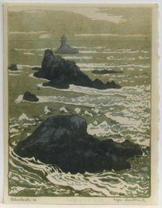 """Wimpelkette - Farbholzschnitt - Heine Rath (1873 - 1920) """"Strömungen"""""""