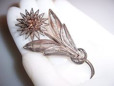 Vintage Silver Filigree Flower Brooch Pin by THEROARINGTHRIFTIES