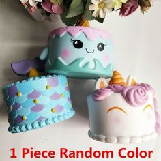 1 Piece 14CM Colorful Cartoon Unicorn Cake Tail Cakes Kids Fun Gift Squishy Slow Rising Kawaii Squishies Phone Straps Fun Gags