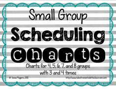These handy scheduling charts help you figure out how many groups you can meet with each day. This perfect for small group instruction and centers. Small Group Reading, Guided Reading Groups, Reading Centers, Guided Math, Reading Workshop, Reading Strategies, Teaching Reading, Learning, Literacy Centers