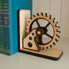 Gear Bookend: Wood Gear Office Organizer by graphicspaceswood
