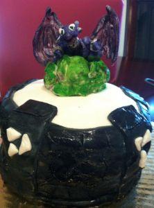 Skylanders Cake!  Cynder on top of the portal cake skylanders