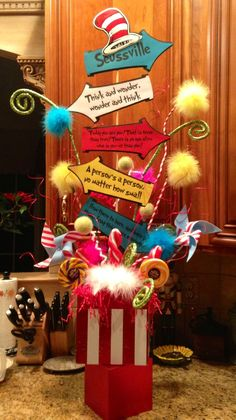 "Dilette: possible center piece with Henry's idea of quotes and ""girls group"" idea of Dr Seuss characters Voyagers have made. Dr Seuss Birthday Party, 4th Birthday Parties, Baby Birthday, Birthday Ideas, 2nd Baby Showers, Baby Shower Themes, Baby Boy Shower, Dr Seuss Baby Shower Ideas, Lorax"