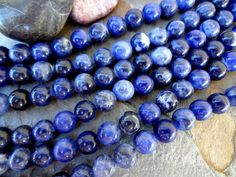 Sodalite, 8mm Smooth Rounds, 8 Inch Strands by DragonflyBeadsStudio on Etsy