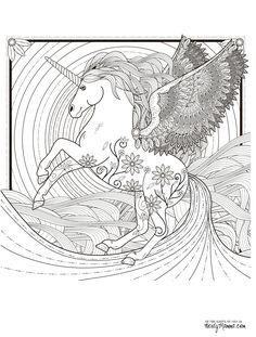 Uni-Peg Unicorn Pegasus Fantasy Myth Mythical Mystical Legend Wings  Licorne Enchantment Coloring pages colouring adult detailed advanced printable Kleuren voor volwassenen coloriage pour adulte anti-stress kleurplaat voor volwassenen Line Art Black and White
