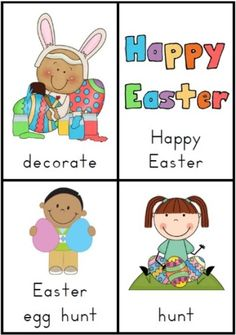 Easter Vocabulary BUNDLE Worksheets, Vocabulary Cards and Handwriting Cards for K-1 students. $