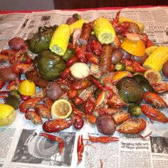 Crawfish, crab boil, shrimp, artichokes, brussel sprouts, potatoes, garlic, lemons, oranges, sausage