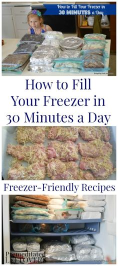 How to fill your freezer in 30 minutes a day. Frugal ideas and time-saving tips for freezer cooking. Includes easy freezer recipes and a menu plan. Bulk Cooking, Batch Cooking, Freezer Cooking, Cooking Tips, Cooking Recipes, Meal Recipes, Tasty Meals, Drink Recipes, Recipes