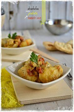 DECORECETAS: Alcachofas con patata y tomate seco