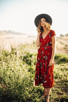 Free People: All I Got Printed Maxi Dress in Red Combo