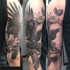Crow and lilies done by Roumen Kirinkov at Toronto Ink - Toronto ON #Tattoos https://t.co/cmEQzcJFGG Please Re-Pin It!