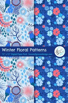 Colorful and cute Winter floral pattern designs. By House of Grouse Design, the cutest digital scrapbooking warehouse. Pattern Designs, Retro Pattern, Surface Pattern Design, Origami Patterns, Paper Packs, Modular Origami, Grouse, Origami Tutorial, Japanese Paper