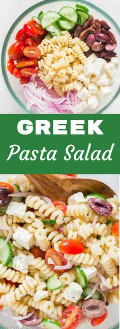 Summer backyard BBQ or picnic potluck this easy Greek pasta salad is all you need. Light, fresh, delicious, easy to make and healthy. All this and simple pasta salad vinaigrette to drizzle that lifts up the flavors. The perfect recipe for your BBQ or potl Greek Salad Pasta, Easy Pasta Salad, Pasta Salad Recipes, Easy Salads, Summer Salads, Easy Meals, Salads For Bbq, Light Pasta Salads, Summer Pasta Salad