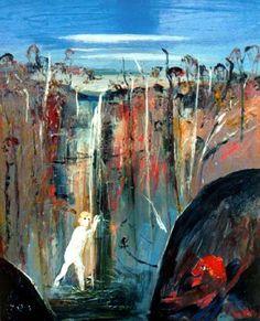 Arthur Boyd, Shoalhaven Waterfall Bather and The Elder, Oil on canvas 60 cm x 45 cm Abstract Art Painting, Australian Artists, Arthur Boyd, Australian Art, Painting, Australian Painting, Aboriginal Painting, Art, Unusual Art