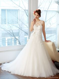 moonlight couture fall 2013 bridal wedding dress illusion neckline style h1231