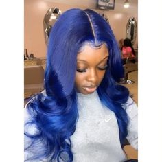 Wiccawigs Customized Blue Color Glueless Lace Wigs With Baby Hair Pre Plucked Hairline Cornrows, Natural Wavy Hair, Natural Hair Styles, Black Girls Hairstyles, Wig Hairstyles, Afro, Hair Colorful, Birthday Hairstyles, Mohawk