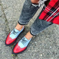 Red&Sky Blue Berby Brogues by INCH2  http://www.inch2.com/shop/womens-shoes/red-and-sky-blue-derby-brogues/