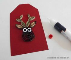 More fun with paper quilling! Try your hand at this oh so simple Paper Quilled Reindeer Pattern. It is quick and easy to make and perfect for Gift Tags or Greeting Tags. Love Rudolph. He is so cute! Check out the easy step by step quilling instructions!