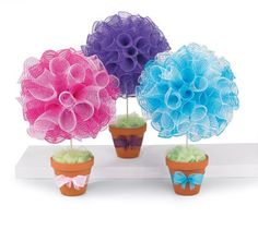 idea, craft, flower pot, color, ribbons, clay pot, baby shower gifts, topiari, baby showers