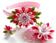 Kanzashi fabric flowers. Set of 3 pieces.  Shocking pink, pink, white and apple green via Etsy.