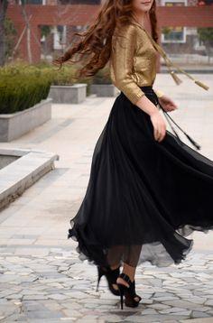 women's black silk Chiffon 8 meters of skirt circumference  long dress maxi skirt qz03. $37.99, via Etsy.