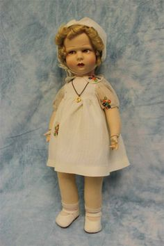 "19"" antique RAYNAL CLOTH DOLL c1930 All Original Signed Raynal Shoes & Necklace"