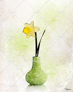 Illustration d'une fleur jonquille dans un pot. Idéal par DysanArt