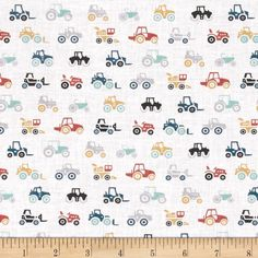 Dear Stella Farm Fresh Tractors Multi from @fabricdotcom  From Dear Stella, this cotton print collection is perfect for quilting, apparel, and home decor accents. Colors include white, shades of blue, shades of grey, shades of orange, and yellow.