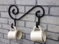 Wrought Iron Coffee Mug Holder for Two Person by Ironandstonedecor, $30.00