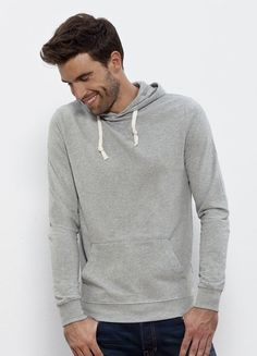 Drizzle men's #lightweight #hoodie in Heather Grey. Made in Pakistan, it's #fairtrade and made from 100% #organiccotton.