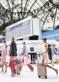 #KarlLagerfeld takes us for a ride on #Chanel Airlines. For the Spring 2016 runway show. #StageDesign