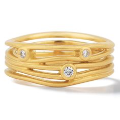 Scribble Ribbon Ring by Dana Melnick: Gold and Stone Ring available at www.artfulhome.com