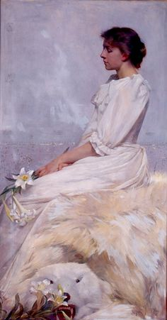 """Portrait of Bessie (Mrs. Elizabeth Newton"" by Albert Herter. 1892, oil on canvas. Herter began his career as an illustrator, painter, and muralist. The sitter, Elizabeth Newton, had been a childhood companion of Herter's. This painting is Herter's homage to James McNeill Whistler, the expatriate artist who had a profound effect on American art around the turn of the twentieth century. In the collection of The High Museum of Art, Atlanta, GA."