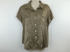 Chico's 3 Large Shirt Stretch Silk Bronze Button Collar Front Pockets Blouse Top