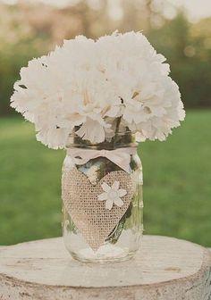 Burlap Wedding mason jar Centerpiece - glass jars...