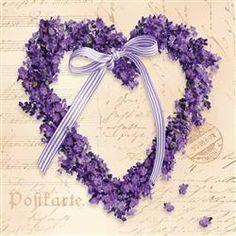 Servetten - 20 st./pak, lavendel hart - Papier en karton | Servetten | Servetten