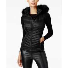 Michael Michael Kors Faux-Fur-Trim Down Vest (1,940 EGP) ❤ liked on Polyvore featuring outerwear, vests, black, lightweight down vest, hooded puffer vests, puffer vests, down filled vest and puffy vests
