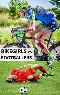 Bike girls vs footballers. ♀️ No contest... RELATED: Why women are better cyclists than men - http://www.bikeroar.com/articles/why-women-are-better-cyclists-than-men. #cycling #womenscycling #football #cyclist #girlpower #womensday