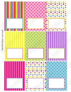 INSTANT DOWNLOAD diy Candy Shoppe Birthday Party  PRINTABLE Tent Cards pink green blue yellow orange  candyland -Cupcake Express via Etsy