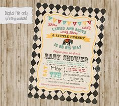 All information color, text and font can be changed and customized for you.    This listing is for a 4x6 or 5x7 Circus Baby Shower
