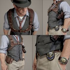 [image] Title: 'G-man: Ray Johnson' Game Art Name: Jamie-lee Lloyd Country: United Kingdom Software: ZBrush max Photoshop Quixel Marmoset Toolbag 2 Submitted: March 2015 Recently finished chipping away at … Gun Holster, Leather Holster, Holsters, Leather Harness, Mode Steampunk, Steampunk Fashion, Steampunk Belt, Style Masculin, Chest Rig